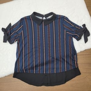 Bow Short Sleeved Striped Blouse (Large)